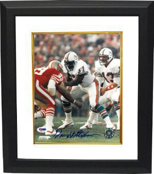 Dwight Stephenson signed Miami Dolphins 8x10 Photo Custom Framed- PSA DNA Hologram
