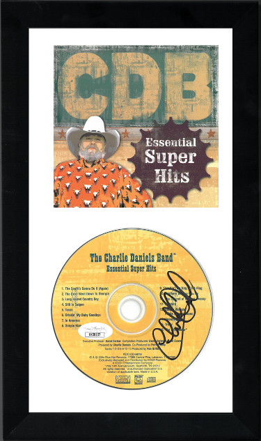 The Charlie Daniels Band signed 2004 Essential Super Hits Album CD 6.5x12 Custom Framing w/ Cover/signed DVD- JSA #KK58157