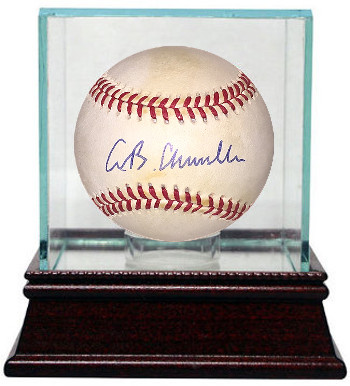 AB Chandler signed Official National League Baseball w/ Glass Case minor tone- JSA Hologram #CC09276
