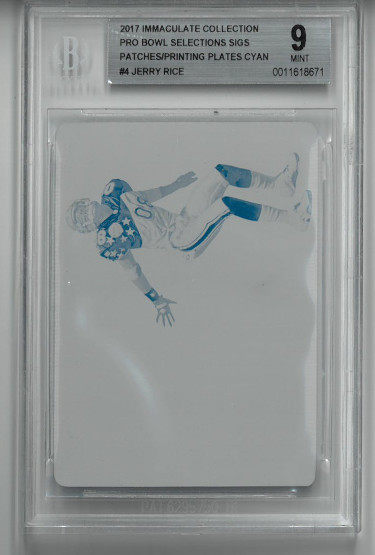 Jerry Rice San Francisco 49ers 2017 Immaculate Football Trading Card Cyan Printing Plate- LTD 1/1- Beckett Graded 9 Mint