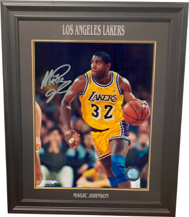 Magic Johnson signed Los Angeles Lakers 16x20 Photo Custom Laser Engraved Framing