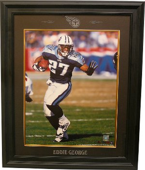 Eddie George Tennessee Titans 16x20 Photo Custom Laser Logo Framing