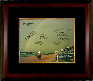 Swale signed Churchill Downs Kentucky Derby Winners (1978) Horse Racing Rainbow 16x20 Photo 7 signatures Custom Framed