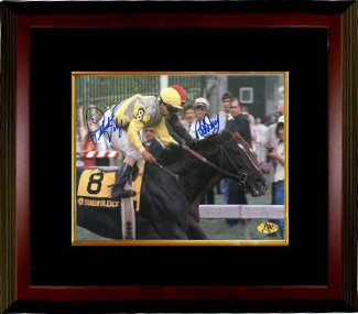 Easy Goer signed Preakness Stakes at Pimlico Horse Racing 16x20 Photo Custom Framed Pat Day & Pat Valenzuela