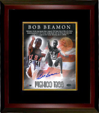 Bob Beamon signed Team USA Track & Field 16X20 Photo Custom Framing - Leaf Authentics Hologram 1968 Mexico Olympics World Record