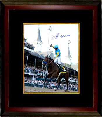 American Pharoah signed 16x20 Photo 2015 Kentucky Derby Horse Racing Triple Crown Custom Framing with Victor Espinoza- Steiner