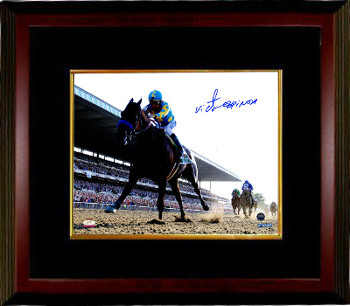 Victor Espinoza signed 2015 Belmont Stakes American Pharoah Triple Crown 8x10 Photo-Custom Framing - Steiner Hologram