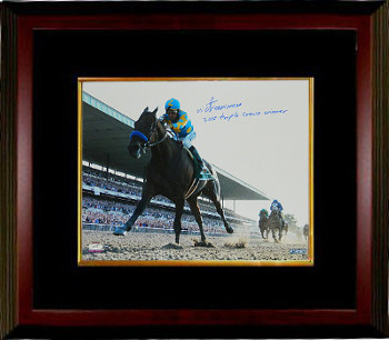 Victor Espinoza signed 2015 Belmont Stakes American Pharoah Triple Crown Winner 16x20 Photo Custom Framing - Steiner Holo