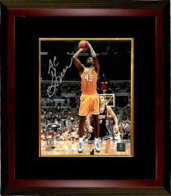 AC Green signed Los Angeles Lakers 8x10 Photo Custom Framed (yellow jersey)