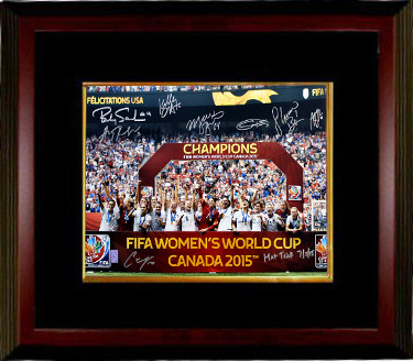 2015 World Cup Team USA Women's Soccer Signed 16x20 photo Framing (8-sigs) Hat Trick 7/5/15- Carli Lloyd- Tri-Star