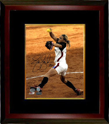 Jennie Finch signed Olympic Team USA 8X10 Photo Custom Wood Framing