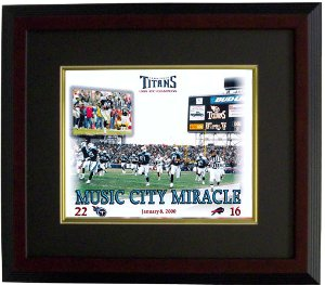 Music City Miracle unsigned Tennessee Titans 16X20 Photo Custom Wood Framing