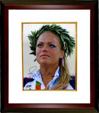 Jennie Finch signed Olympic Team USA 8x10 Photo USA Gold (2004 Olympic Ceremony) Custom Framed