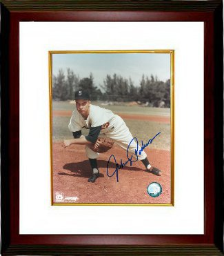 Johnny Podres signed Brooklyn Dodgers 8x10 Pitching Photo Custom Framed (deceased)