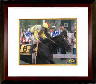 Easy Goer signed Preakness Stakes at Pimlico Horse Racing 8x10 Photo Custom Framed Pat Day & Pat Valenzuela