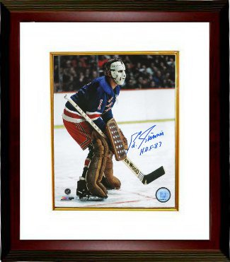 Eddie Giacomin signed New York Rangers 16X20 Color Photo Custom Framed HOF 87
