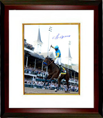 American Pharoah signed 16x20 Photo 2015 Kentucky Derby Horse Racing Triple Crown Custom Framing w/ Victor Espinoza- Steiner