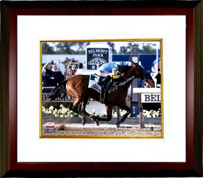 American Pharoah signed 16x20 Photo 2015 Belmont Stakes Finish Line Triple Crown Custom Framing w/ Victor Espinoza- Steiner Holo