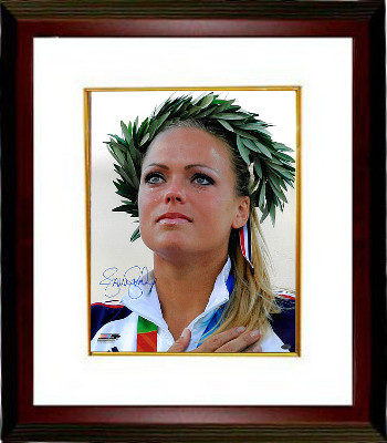 Jennie Finch signed Olympic Team USA 16x20 Photo w/ Crown Custom Framed (2004 Olympic Ceremony)