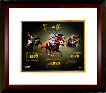 Triple Crown Glory signed Horse Racing 16X20 Photo Custom Framed- 3 sigs