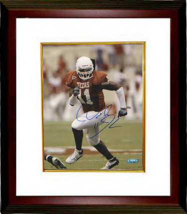Derrick Johnson signed Texas Longhorns 8X10 Photo Custom Framed #11- Tri-Star Hologram (orange jersey)
