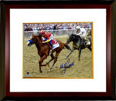 Mike E. Smith signed Justify 2018 Belmont Stakes 8x10 Photo Custom Framing Triple Crown-  Steiner Hologram