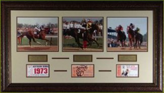 Seattle Slew unsigned Horse Racing 3 Photo 22x29 Leather Framed w/ Tickets