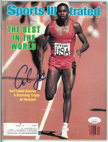 Carl Lewis signed Team USA Sports Illustrated Full Magazine 8/22/1983- JSA Hologram (1983 World Championships)