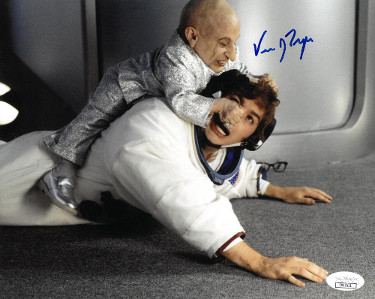 Verne Troyer signed Austin Powers Mini Me 8x10 Photo- JSA Hologram (horizontal- fight with Austin Powers/Mike Myers)