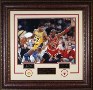 Michael Jordan unsigned Chicago Bulls Engraved Signature Series 33x32 Leather Framed Photo w/ Magic Johnson