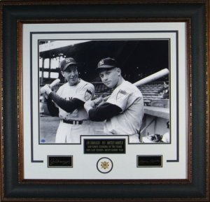 Joe DiMaggio NY Yankees Engraved Signature Series 16x20 Photo Premium Leather Framing w/Mickey Mantle