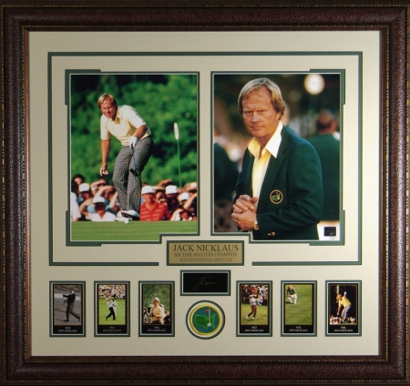 Jack Nicklaus Masters PGA Career Engraved Signature Collection 30x32 Premium Leather Framing w/ 2-Photos & Cards
