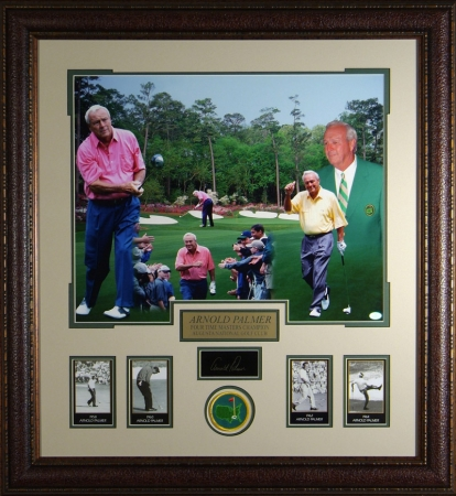 Arnold Palmer Engraved Signature Series Collection 30x32 Masters Photo Collage Premium Leather Framing
