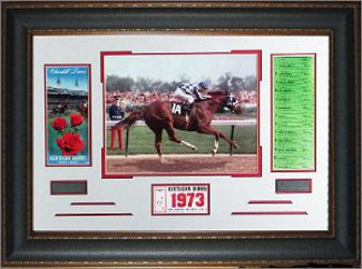 Ron Turcotte 1973 Kentucky Derby Secretariat Photo Custom  Premium Leather Framing 22x32 w/ Ticket & Race Lineup