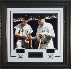 Babe Ruth New York Yankees 16x20 Photo Engraved Signature Series Preming Leather Framing w/Ted Williams