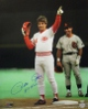 Pete Rose signed Cincinnati Reds 16x20 Photo HITKING (4192 Record Breaker) minor surface scratches