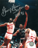 George Gervin signed San Antonio Spurs 8x10 Photo dual HOF 96 & ICE (shooting)