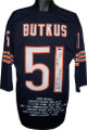 Dick Butkus signed Navy Custom Pro Style Football Jersey 3/4 SL triple HOF, Monster of the Midway & #51 w/Stats Tristar Hologram