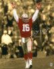 Joe Montana signed San Francisco 49ers 16X20 Photo (sepia spotlight arms up)- Montana Hologram