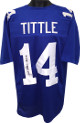 Y.A. Tittle signed Blue TB Custom Stitched Pro Style Football Jersey HOF 71 XL- JSA Hologram