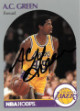 AC Green signed Los Angeles Lakers 1990-91 NBA Hoops Basketball Trading Card #156