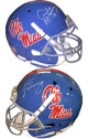Archie Manning signed Ole Miss Rebels TB Light Blue Full Size Schutt Replica Helmet #18 w/ Eli Manning- Steiner Hologram