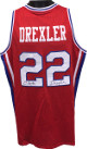 Clyde Drexler signed Red TB College Style Custom Stitched Basketball Jersey XL (w/Blue Trim-signed on both #'s)