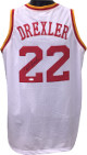 Clyde Drexler signed White TB Custom Stitched Pro Style Basketball Jersey XL- JSA Hologram
