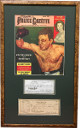 Jake Lamotta & Vikki Lamotta signed Cancelled Bank Checks w/ Police Gazette Cover Custom Framed- BAS Beckett LOA #A86269