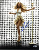 Mariah Carey signed 11X14 Photo (Sexy White Dress- Gold Microphone)- Beckett Holo #C88497