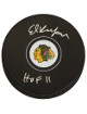 Ed Belfour signed Chicago Blackhawks Logo Hockey Puck HOF 11