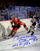 Bobby Hull signed Chicago Blackhawks 8x10 Photo #9 HOF 1983 (vs St. Louis Blues)