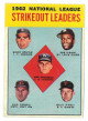1963 Topps 1962 NL Strikeout Leaders Baseball Trading Card #9 (Sandy Koufax/Don Drysdale/Bob Gibson)