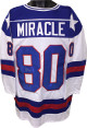 "Mike Eruzione signed Team USA White Custom ""Miracle"" Hockey Jersey XL- JSA Hologram (1980 Olympics vs Soviet Union)"